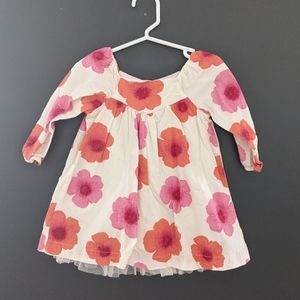 Adorable flower print dress with tulle underneath